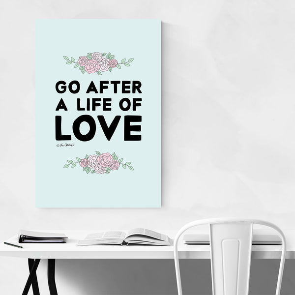 Love Typography Quote Floral Art Print