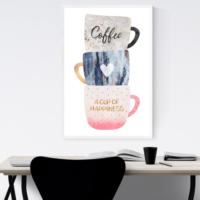 Coffee Typography Illustration Framed Art Print