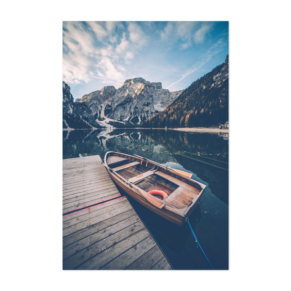 Braies Lake Dolomites Alps Italy Art Print