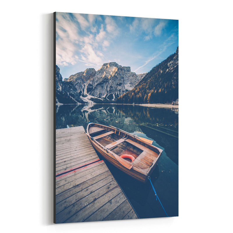 Braies Lake Dolomites Alps Italy Canvas Art Print
