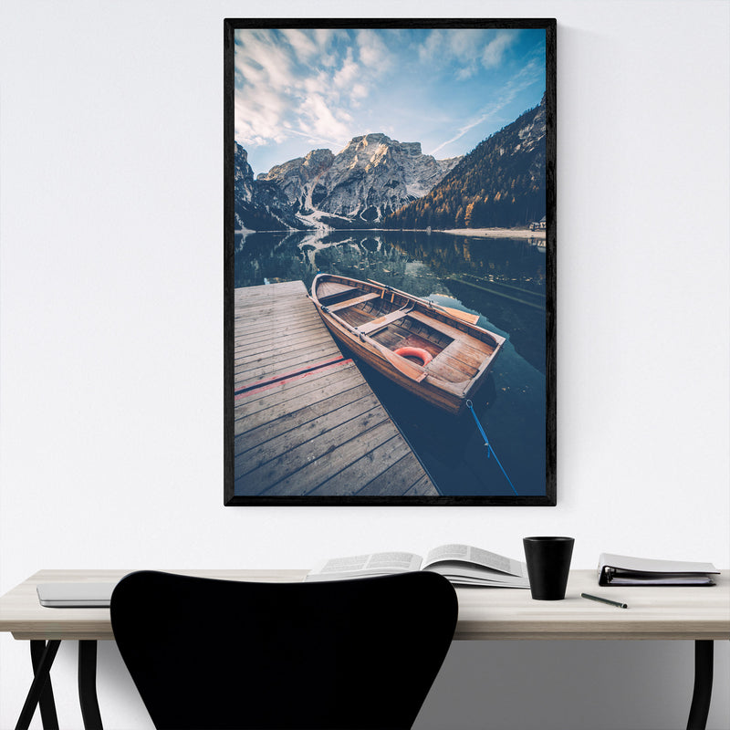 Braies Lake Dolomites Alps Italy Framed Art Print