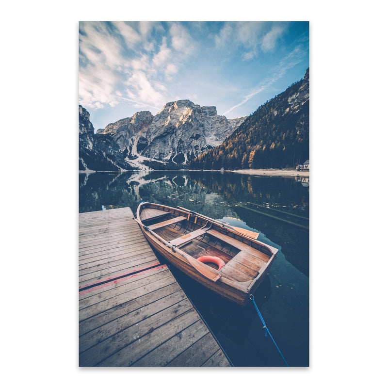 Braies Lake Dolomites Alps Italy Metal Art Print