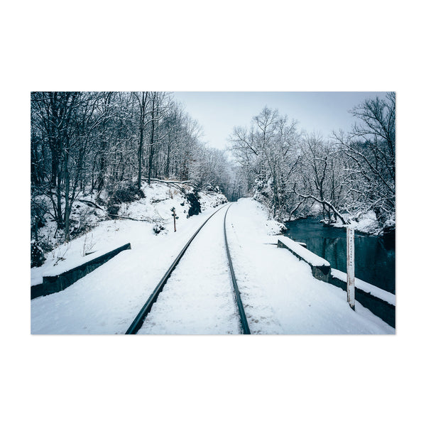 Rural Maryland Railroad in Snow Art Print