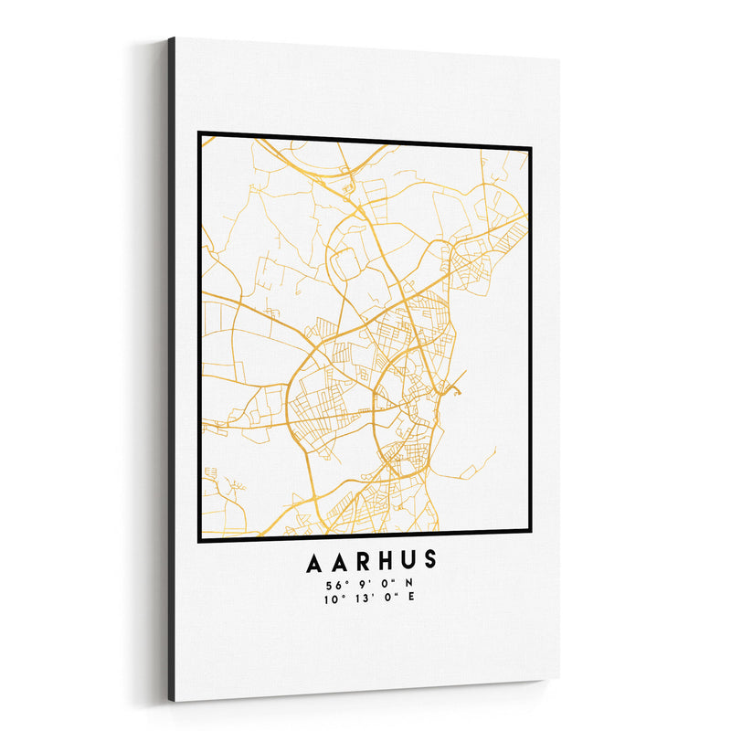 Minimal Aarhus City Map Canvas Art Print