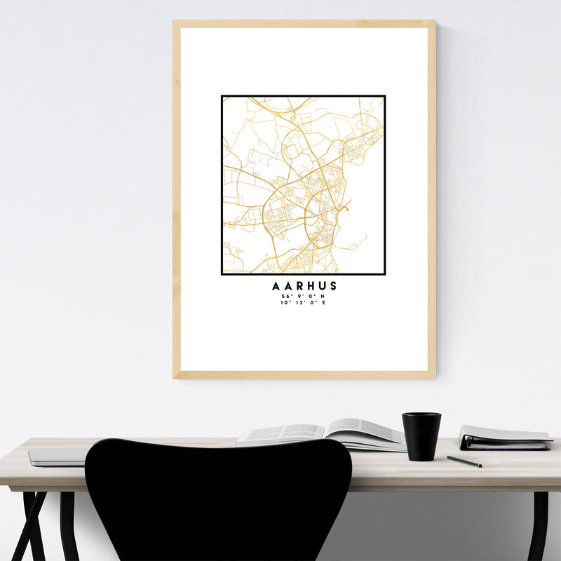 Minimal Aarhus City Map Framed Art Print
