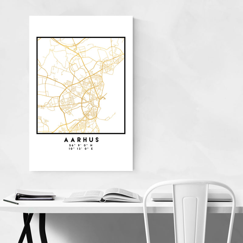 Minimal Aarhus City Map Metal Art Print