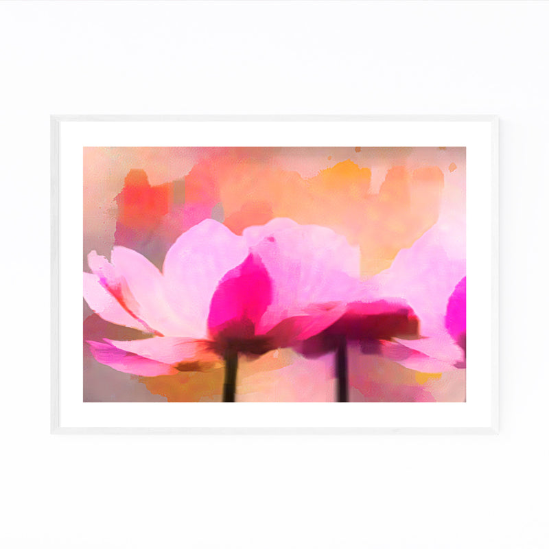 Floral Watercolor Anemone Flower Framed Art Print