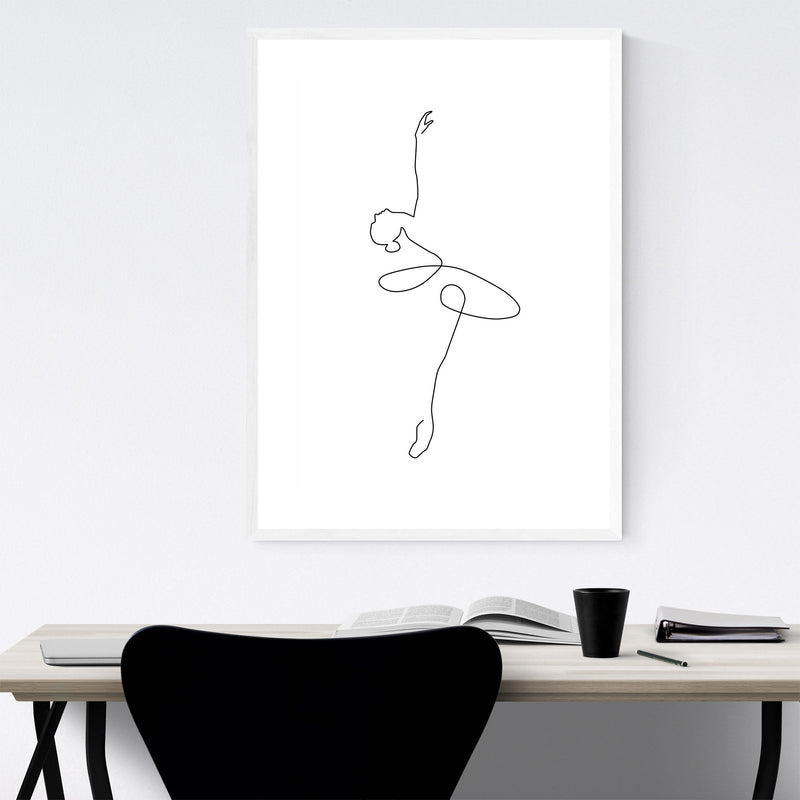 Minimal Ballerina Line Drawing Framed Art Print