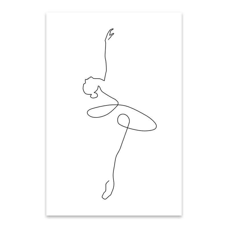 Minimal Ballerina Line Drawing Metal Art Print