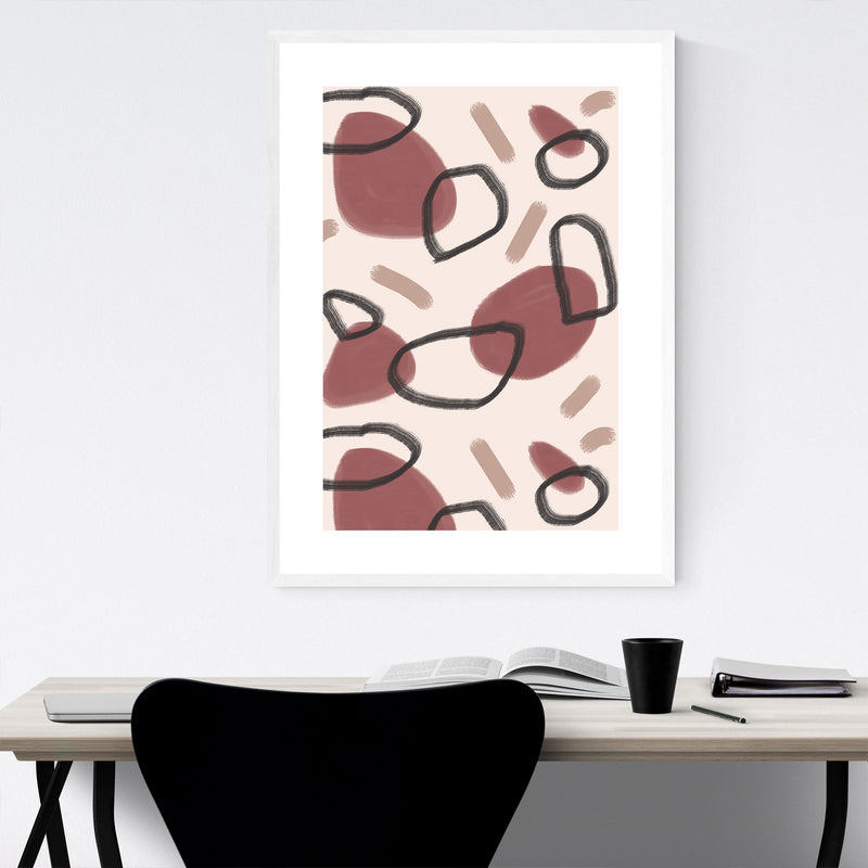 Autumn Abstract Pattern Circle Framed Art Print