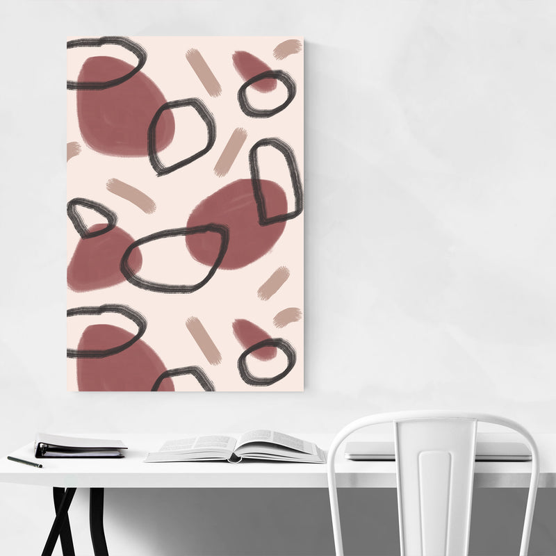 Autumn Abstract Pattern Circle Canvas Art Print