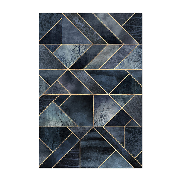 Black Abstract Nature Geometric Art Print