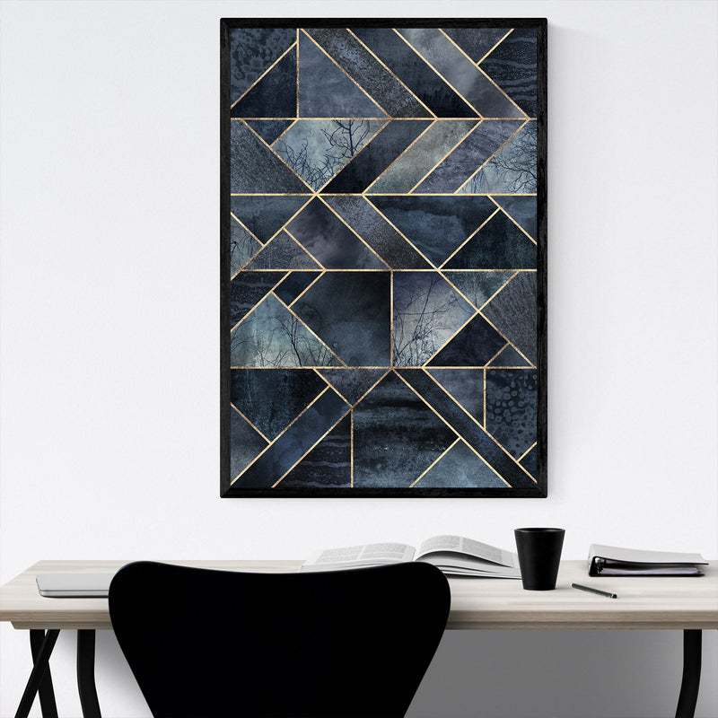 Black Abstract Nature Geometric Framed Art Print