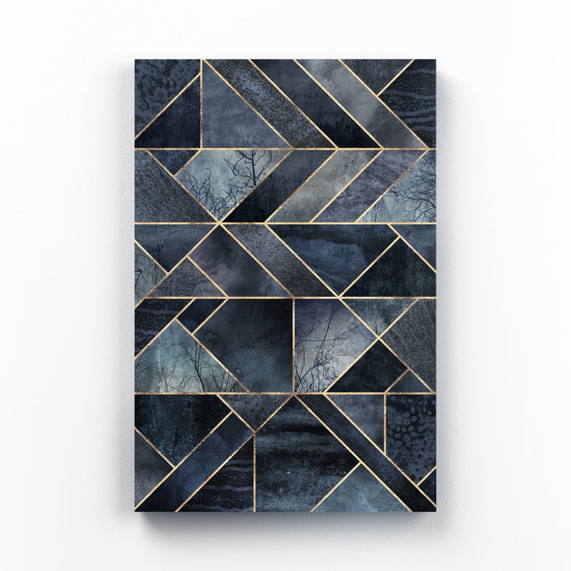 Black Abstract Nature Geometric Mounted Art Print
