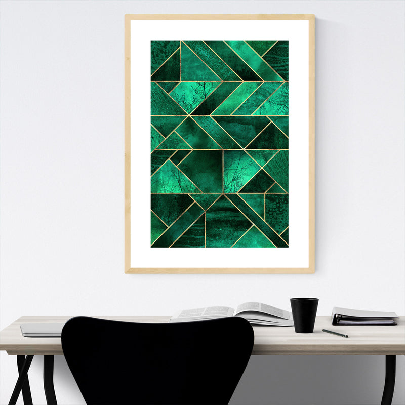 Blue Abstract Nature Geometric Framed Art Print