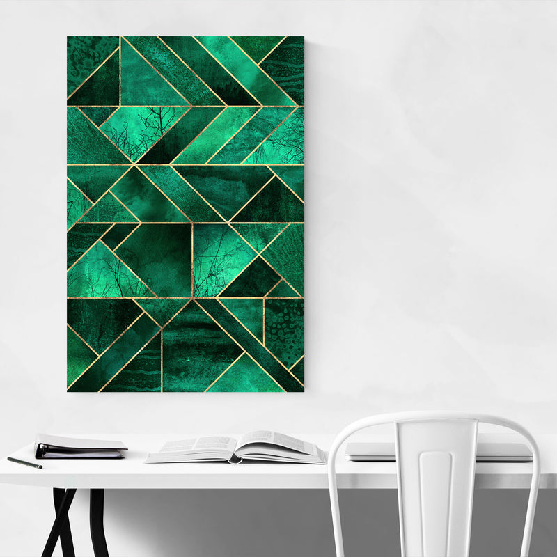 Blue Abstract Nature Geometric Canvas Art Print