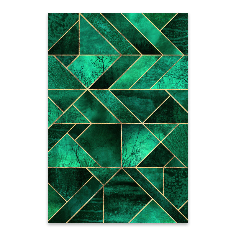 Blue Abstract Nature Geometric Metal Art Print
