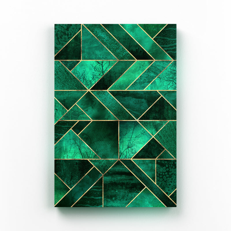Blue Abstract Nature Geometric Mounted Art Print