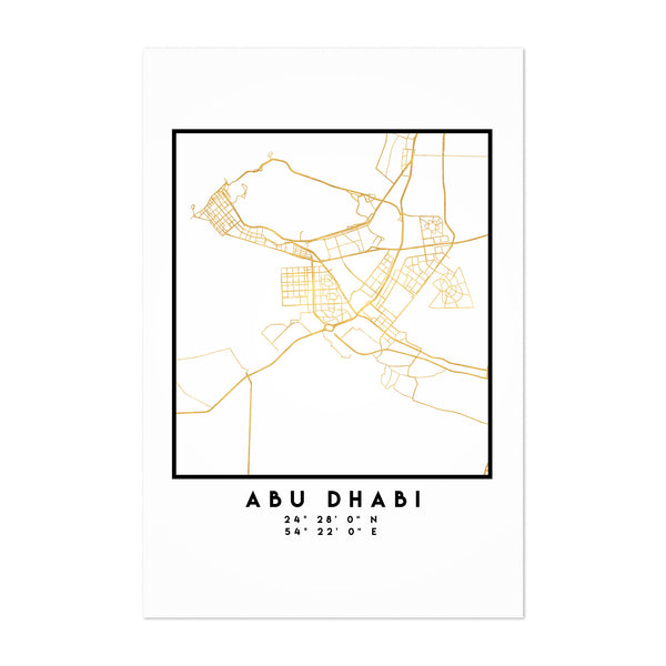 Minimal Abu Dhabi City Map Art Print