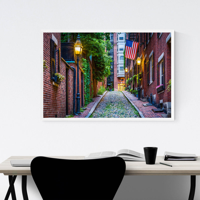 Boston Acorn Street Beacon Hill Framed Art Print