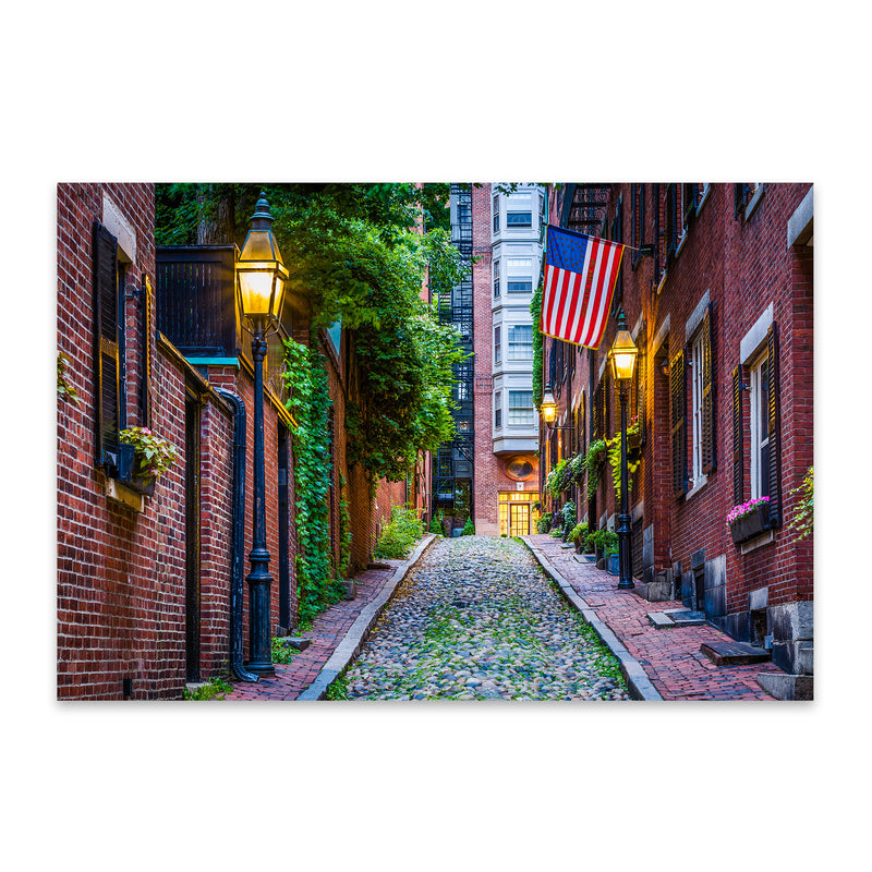 Boston Acorn Street Beacon Hill Metal Art Print