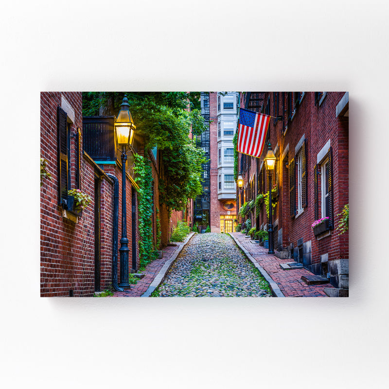 Boston Acorn Street Beacon Hill Canvas Art Print