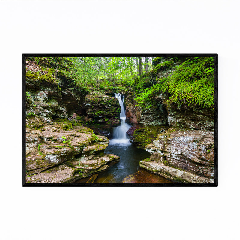 Ricketts Glen Forest Waterfall Framed Art Print