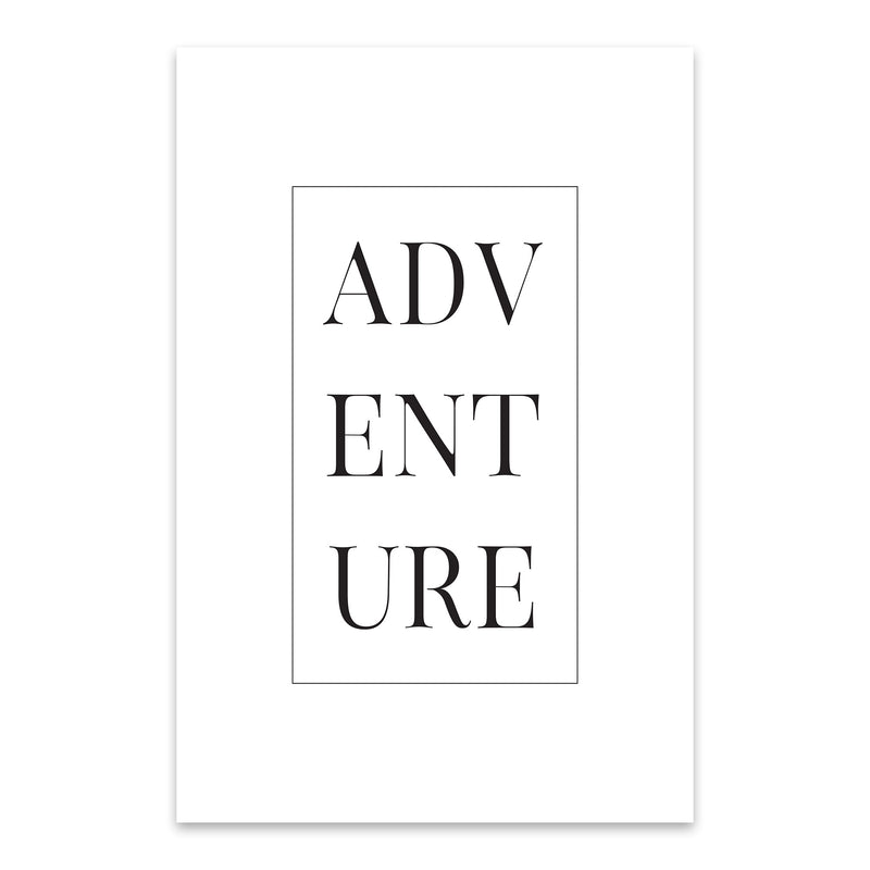 Minimal Adventure Typography Metal Art Print