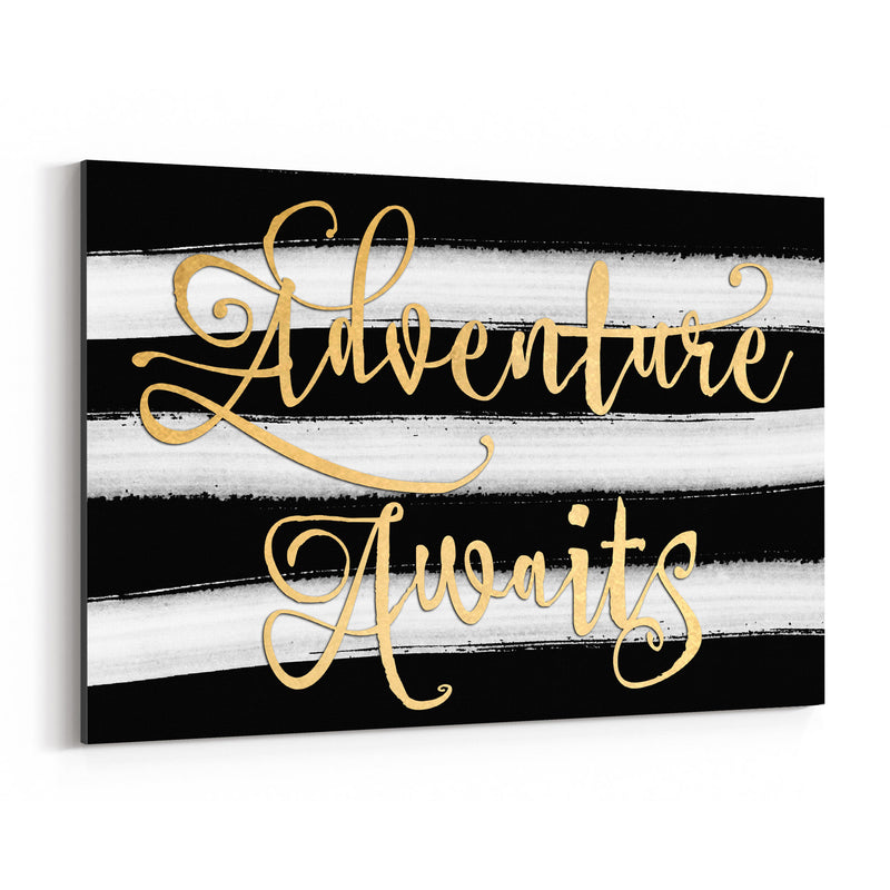 Gold Adventure Typography Canvas Art Print