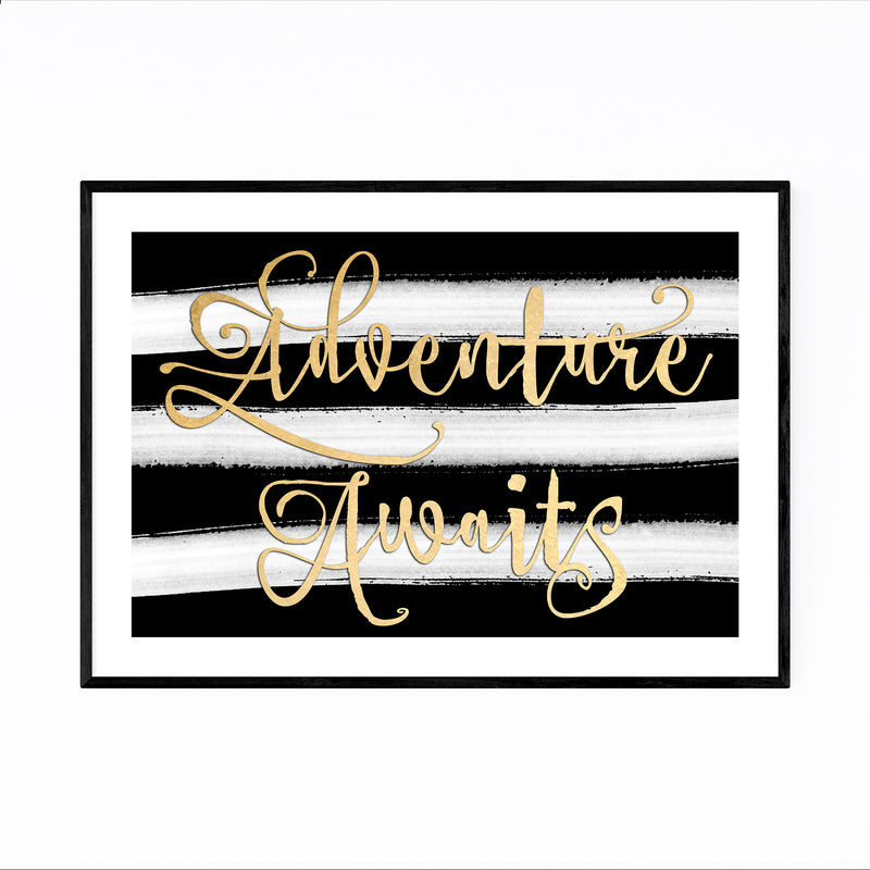 Gold Adventure Typography Framed Art Print