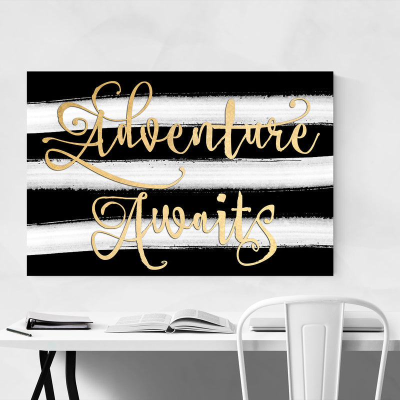 Gold Adventure Typography Metal Art Print