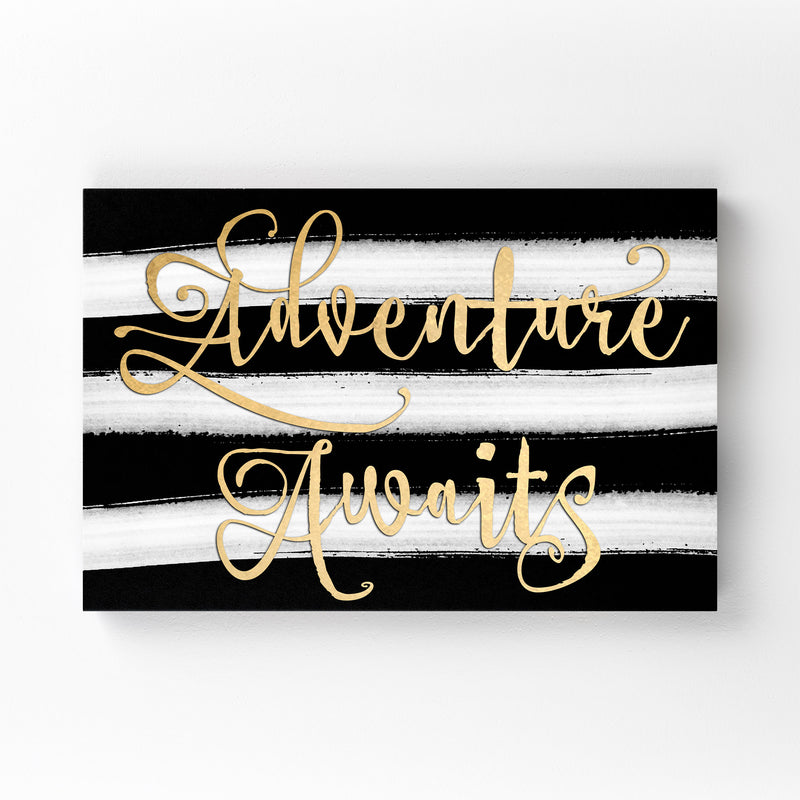 Gold Adventure Typography Mounted Art Print