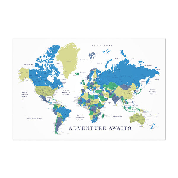 Green Blue World Map Adventure  Art Print