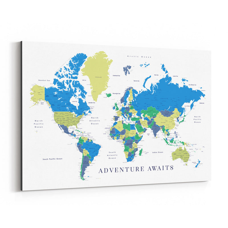Green Blue World Map Adventure  Canvas Art Print