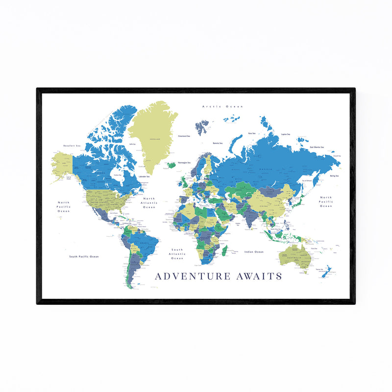 Green Blue World Map Adventure  Framed Art Print