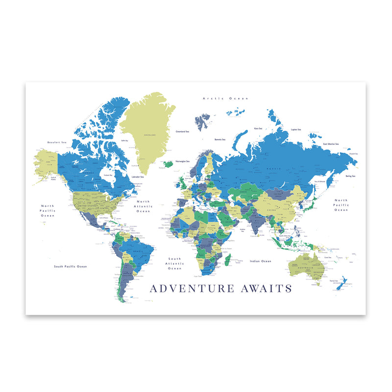 Green Blue World Map Adventure  Metal Art Print