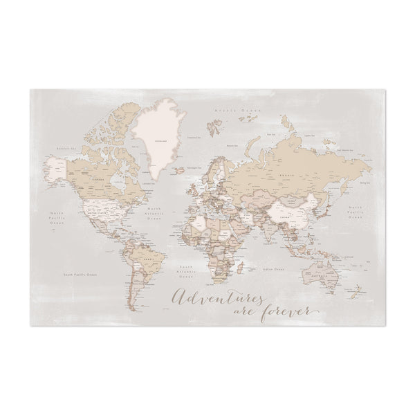 Old Rustic World Map Adventure Art Print