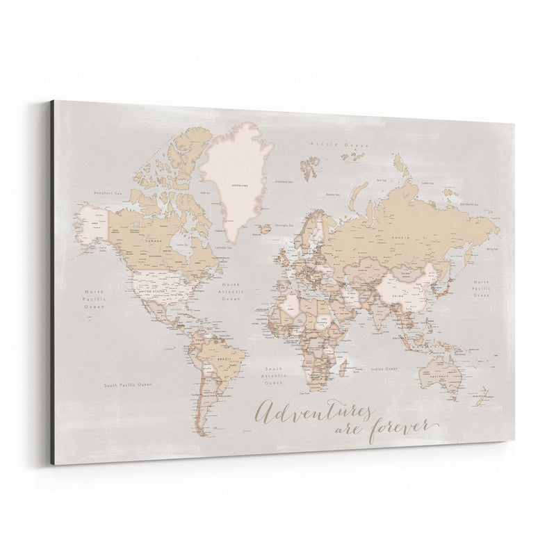 Old Rustic World Map Adventure Canvas Art Print