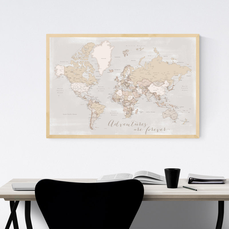 Old Rustic World Map Adventure Framed Art Print