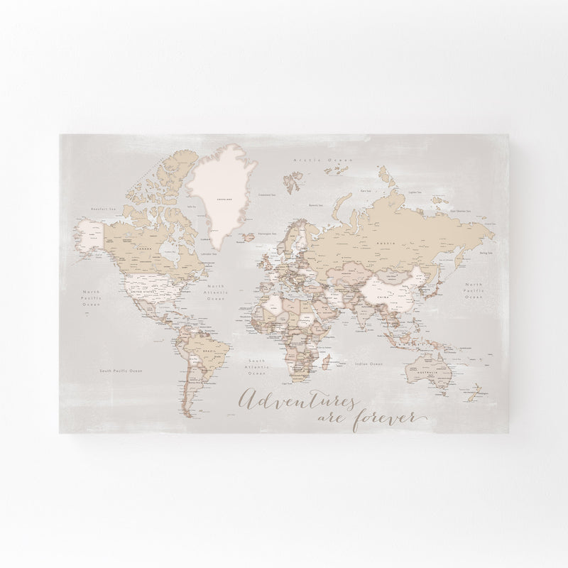 Old Rustic World Map Adventure Mounted Art Print