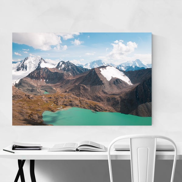 Mountains Lake Kyrgyzstan Nature Art Print