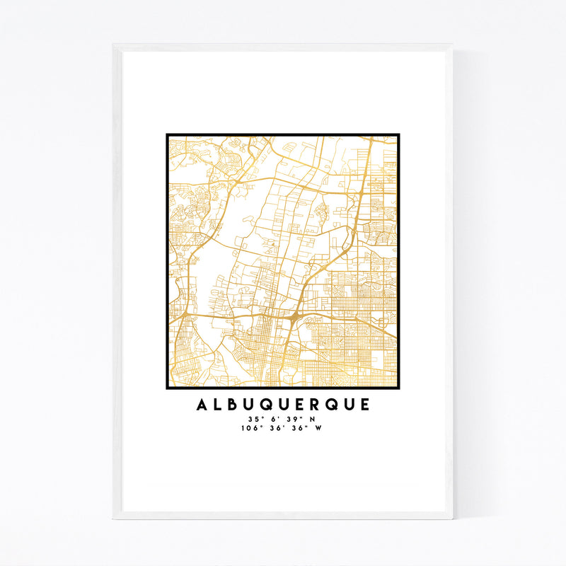 Minimal Albuquerque City Map Framed Art Print