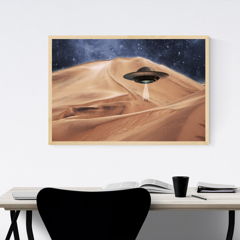 Alien UFO Abduction Photography Framed Art Print