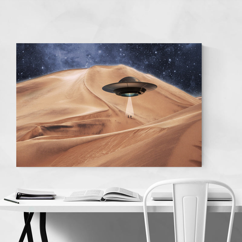 Alien UFO Abduction Photography Canvas Art Print