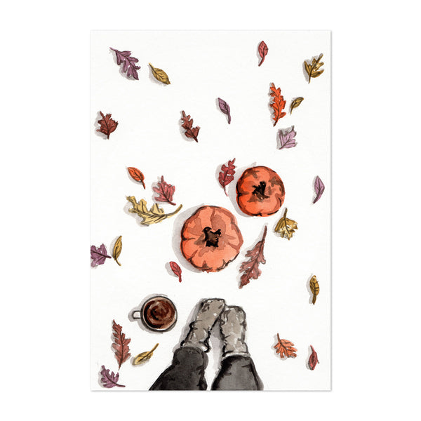 Autumn Pumpkins Leaves Painting Art Print