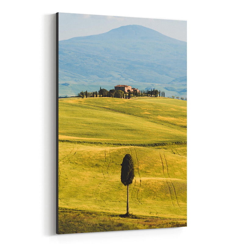 Tuscany Italy Fields Mountains Canvas Art Print
