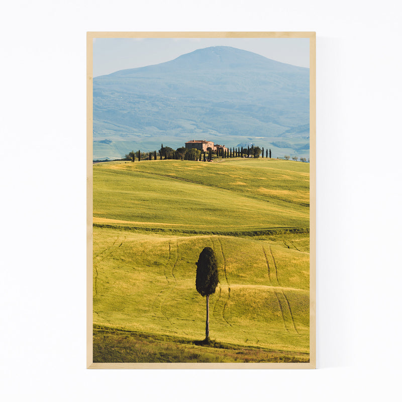 Tuscany Italy Fields Mountains Framed Art Print