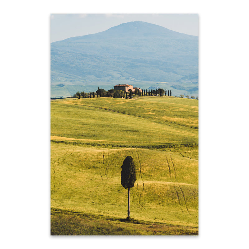 Tuscany Italy Fields Mountains Metal Art Print