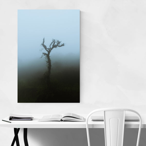 Single Tree Dark Foggy Art Print
