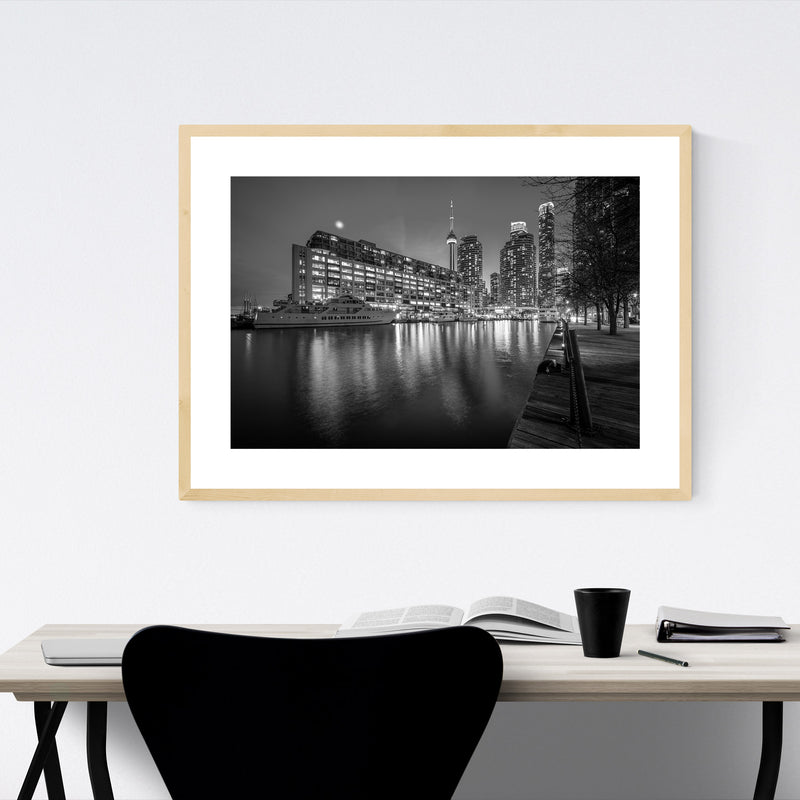 Black & White Toronto Skyline Framed Art Print